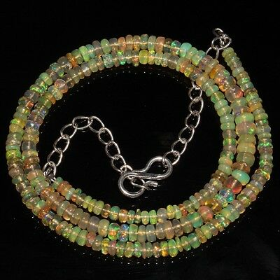 33 Ct Natural Ethiopian Welo Opal Smooth Rondelle Plain Beads Necklace 8087
