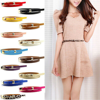 Fashion Women Skinny Lady Girl Skinny Waist Belt Thin Leather Narrow Waistband