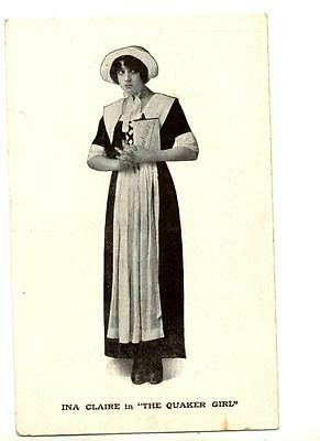 """1912 Ina Claire In """"the Quaker Girl"""" Advertising Photo Postcard Post-Broadway"""