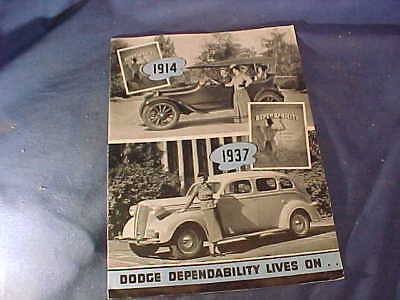 1937 DODGE AUTOMOBILE Illustrated ADVERTISING BROCHURE w Color Images