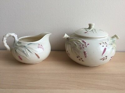 RARE IRISH BELLEEK GRASS COVERED SUGAR BOWL & CREAMER/1st BLACK MARK