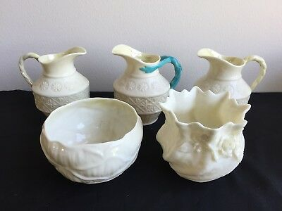 Lot Of 5 Belleek Porcelain Black/green Mark