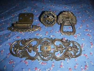 """Misc. Group Antique Drawer Door Pulls Decorative Plate Look  Plate is 5 15/16"""" W"""