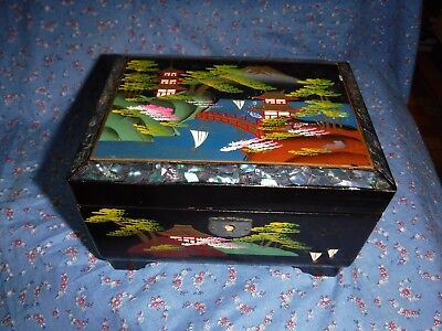 Vintage KK Japan Black Lacquer Jewelry Box  Musical Ornately Painted Inlay