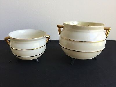 2 X IRISH BELLEEK PORCELAIN HANDLED BOWLS/2nd BLACK MARK