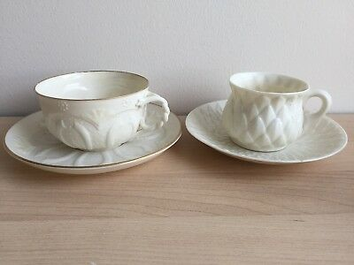 2 X Early Belleek Black Mark Cup & Saucer