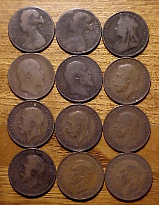 12 England Britain Large Pennies...........min. Bid .01 & No Reserve!