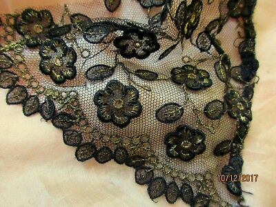 Antique French Dimensional Silk Flower Gilt Metal Tiny Leaf Tulle Lace Trim Pc