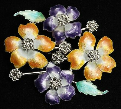Vintage Art Deco Sterling Silver Ornate Enamel Marcasite Lily Flower Brooch Pin