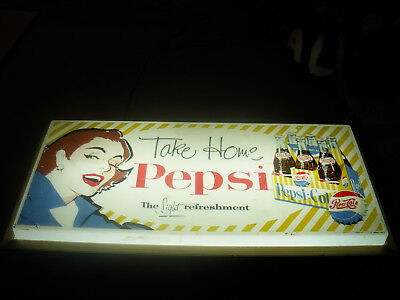 Pepsi Cola Vintage Lighted Sign late 40s early 50s Beautiful girl Very Nice!!!
