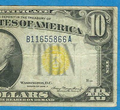 $10. 1934-A North Africa Yellow Seal  Silver Certificate  Very Fine