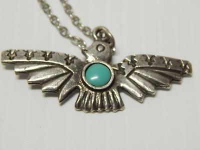 Vintage Navajo Indian Sterling Silver Turquoise Harvey Style Thunderbird Pendant