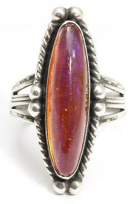 Vintage Navajo Sterling Silver Harvey Old Pawn Stamped DRAGON'S BREATH Ring 925