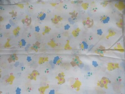 Vintage 80s Fabric Novelty Juvenile Baby Cotton Cats Bunny More Print Sewing 4 Y
