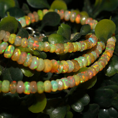 "48 Crt 17"" Natural Ethiopian Welo Fire Opal Rondelle Faceted Beads Necklace 165"