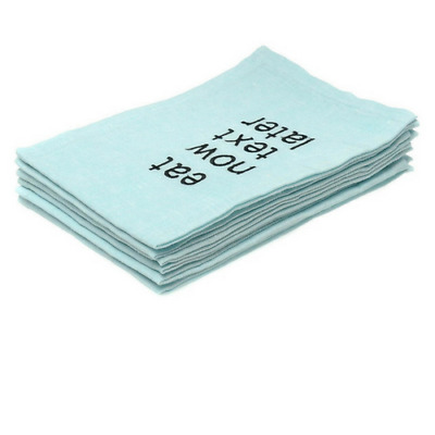 NEW 'Eat Now Text Later' napkin set of 6 Blue