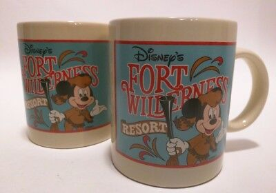 (2) Vintage Disney's Fort Wilderness Resort Mug W/ Mickey Mouse Carrying Musket!