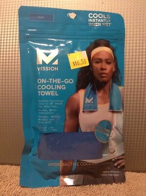 """NEW MISSION Hydro-Active ON-THE-GO Blue Cooling Towel 8 x 30 """" NIP"""