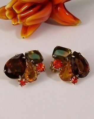 Stunning Vintage Juliana D&E Gold Tone Rhinestone Fruit Salad Clip Earrings
