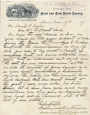 1887 Letterhead Land and Live Stock Agency Albany Texas Nice Farm Engraving