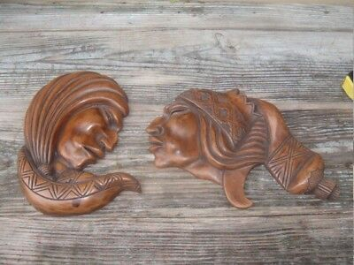 Vintage Hand Carved Wooden Native American Indian Head Wall Plaque SET