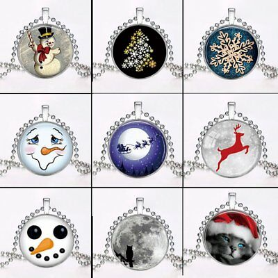 Charm Christmas Santa Claus Snowflake Glow In the Dark Pendant Necklace Jewelry