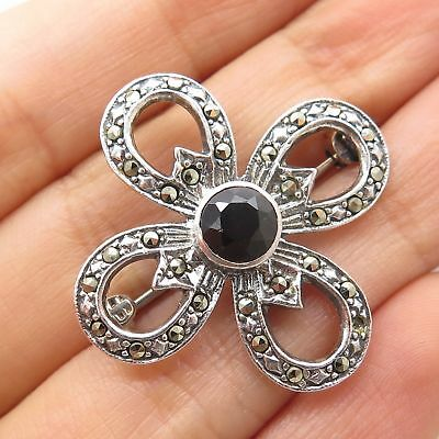 Vtg 925 Sterling Silver Real Red Garnet Marcasite Gemstone Floral Pin Brooch