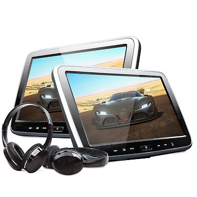 "Active 2x 10.1""Digital HD ScreenCar Headrest DVD Player Pillow Monitor Headset E"