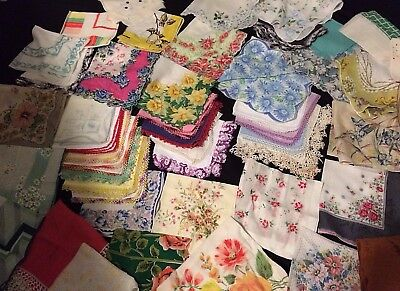 Vtg 50 lot Cutter Craft Hankies Floral Geometric Designer Crochet Lace Mixed