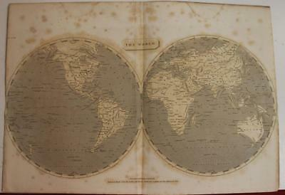 1802 John Pinkerton Unusual Antique Double Hemispheric Lithographic World Map