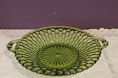 """Indiana Glass Handled 7-1/2"""" Olive Green Bowl - Honeycomb Pattern"""