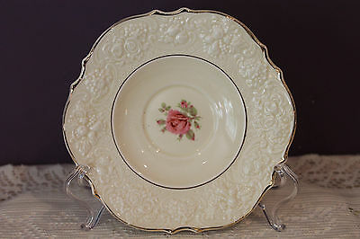 """Crown Ducal Ware England 6"""" Saucer - Ivory With Pink Rose - Gold Trim"""