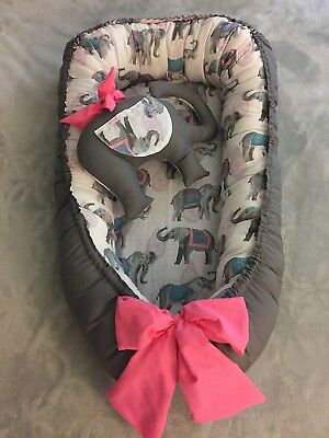 Baby Nest double side with toy elephant infant portable bed
