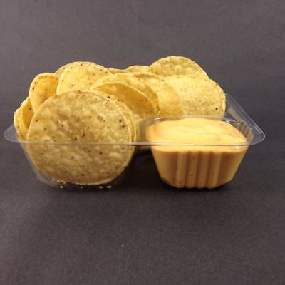 "25 Count Disposable Nacho Trays, Clear 2 Compartment, Small Size, 6"" X 5"" X 1/2"""