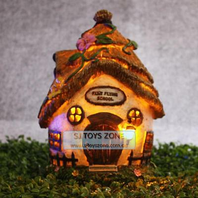Flying School Fairy Solar House Elf Goblin Light Up Home Outdoor Garden Decor