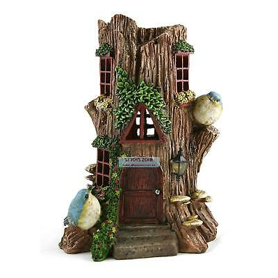 Tree Stump Fairy Solar House  28cm Elf Goblin Light Up Home Outdoor Garden Decor