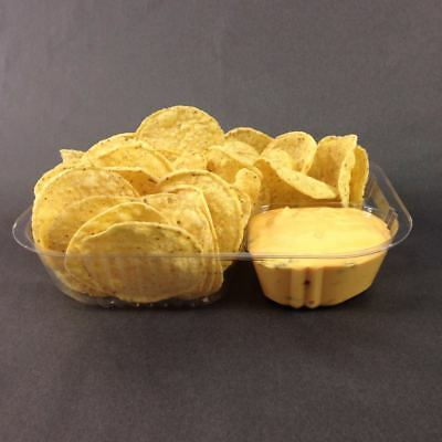 "20 Count Disposable Nacho Trays, Clear 2 Compartment, Large, 8""x6""x1-1/2"""