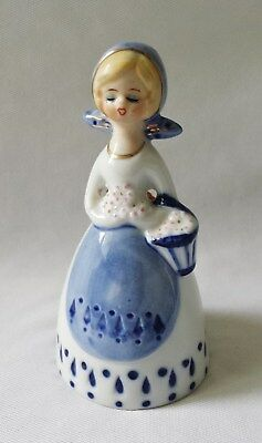 Gorgeous Vintage C1960's Young Girl Porcelain China Bell - Gold Gilt #5