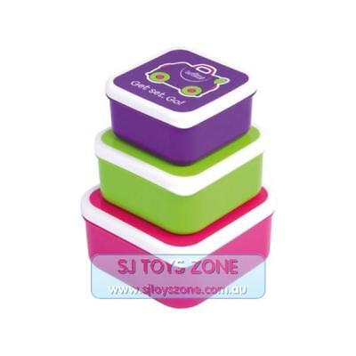 Trunki Snack Pots Get Set. Go! Set of 3 Kids Food Box - Pink, Green, Purple