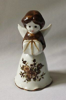 Gorgeous Vintage C1960's Angel With Present Porcelain China Bell #10
