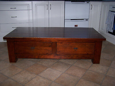 Solid Timber Coffee Table With Two Drawers