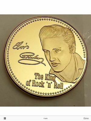 Elvis Presley - The King of Rock n Roll 24k Gold Layered Medallion coin new