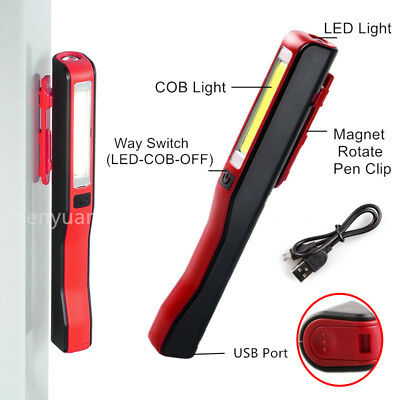 Rechargeable USB COB LED Torch Magnetic Pocket Clip Work Light Inspection Lamp