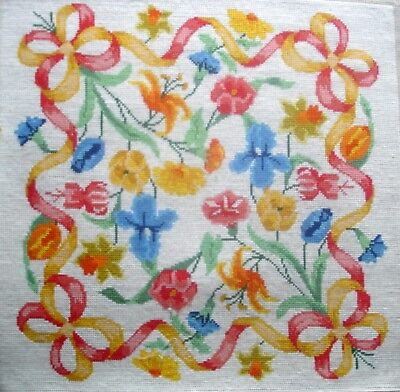 Completed Large Tapestry Cross Stitch Unframed Picture Jacobean Flowers