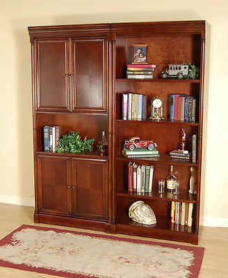 Dark Brown Cherry 2 Piece Office Bookcase Set or Library Bookshelf