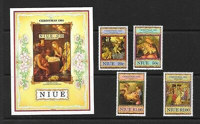 Niue 1991  Christmas Religious Paintings Unmounted MINT Set SG 710-714