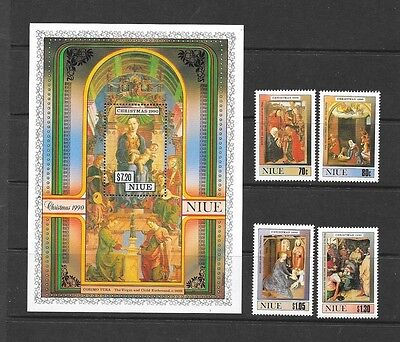 Niue 1990  Christmas Religious Paintings Unmounted MINT Set SG 700-704