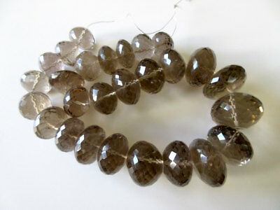 Huge 33mm To 20mm Smoky Quartz Micro Faceted Rondelle Bead 18 Inch Strand GDS165