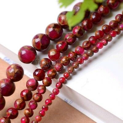 6/8/10mm Natural Red Ruby in Quartz with Pyrite Round Gems Loose Beads 15'' AAA+