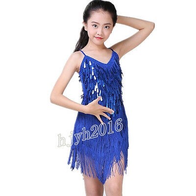 Ballroom Latin Salsa Dance Costume Dress Bollywood Fringe Sequined Gilrs Outfits